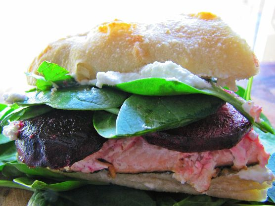 Salmon, beet, goat cheese sandwich
