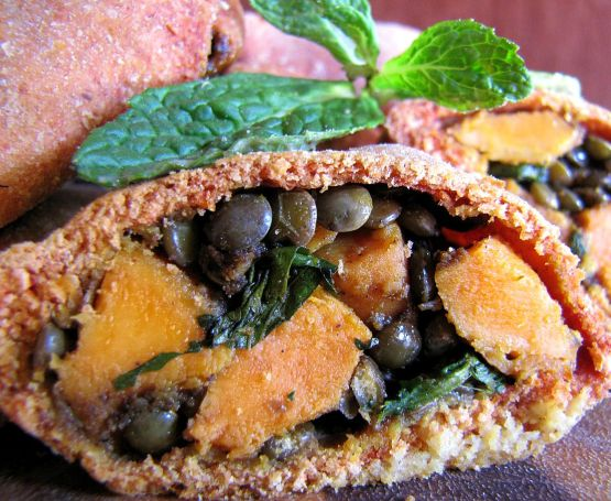 whole wheat sweet potato and lentil samosa