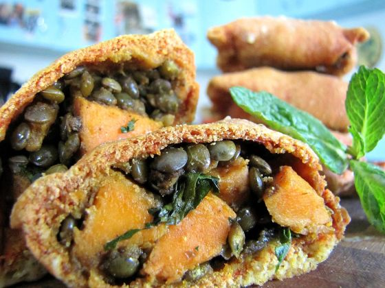 whole wheat yam and black lentil samosa