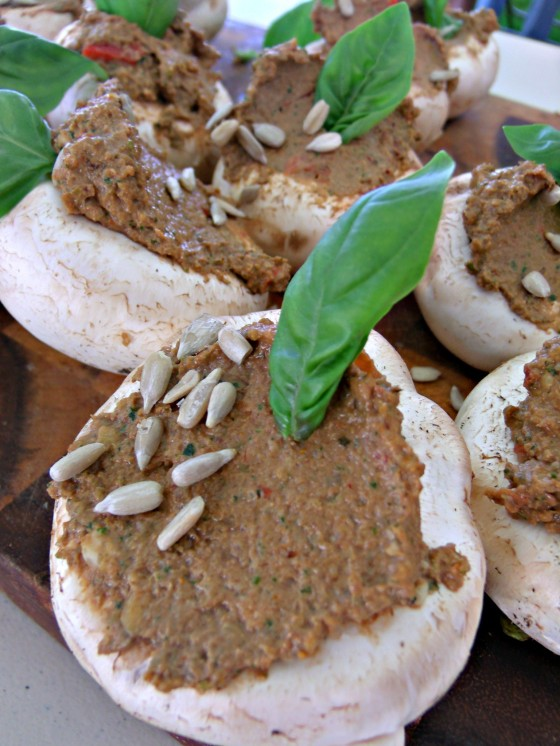 raw Pâté stuffed mushrooms